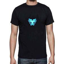 LED T-Shirt Iron Man Tony Stark Light Up Arc Reactor Avengers Thor Hulk Black