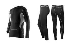 Kompressions Anzug, Funktions Wäsche, Profi Sportanzug schwarz, langärmlig S-XL