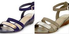 M&S Autograph vera pelle scamosciata con zeppa tacco basso due paia di sandali con INSOLIA Flex &