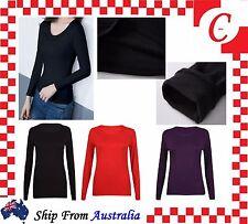 Ladies Women Underwear Winter Warm Fleece Fur Lined Thermal Long Sleeve Top Bulk