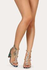 Gemstone Rhinestone Jewel Transparent Clear Straps High Chunky Heel Sandal H200