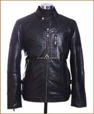 DRAKE Black Uomo Smart Stile Vintage Reale Morbido Pelle Di Agnello Giacca in Pelle
