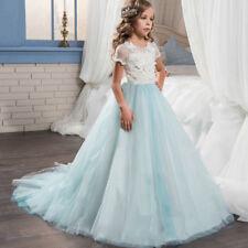 Flower Girl Dress Formal Lace Trailing Princess Party Holiday Wedding  Bridesmaid 97874f3a6ecd