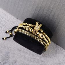 Luxury Men's Micro Pave CZ Polygon Crown Braided Adjustable Charm Bracelets Gift