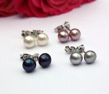 D: 6 mm Set nätüliche de Crianza Agua Dulce joyas perlas pendientes de botón 925