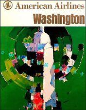 Washington DC 1963 American Airline Vintage Poster Air Travel Print