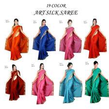 traditionell Indien handgewebte ART SILK Seide Sari Saree stoff kleid Bauchtanz
