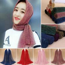 Muslim Women Islamic Glitter Long Hijab Scarf Shawl Wrap Crinkled Pashmina Stole