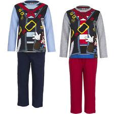 Pyjama Set Schlafanzug Jungen Mickey Mouse Micky Maus grau rot blau 98 - 128 #52