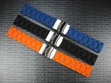 20mm Soft Rubber Strap Diver Deployment Watch Band Black Blue Orange IWC GA