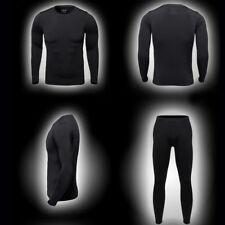Winter Outdoor Men Ski Ultra-Soft Fleece Thermal Top Bottom Long Johns Pants Set