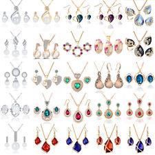 Fashion Women Bridal Wedding Crystal Rhinestone Jewelry Necklace Earrings Set
