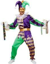 Mardi Gras Jester Adult Men Costume Multi Color Suit Pant  Mask Choker Gloves