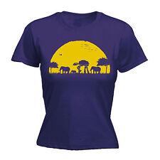 Elefante ATAT puesta de sol para mujer Camiseta GEEK HUMOR SciFi Safari Cumpleaños Regalo Divertido