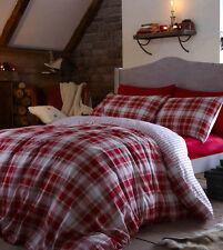 Tartan Red Duvet Set 100% Brushed Cotton Single Double or King Size