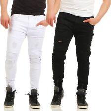 4433 Pantalones De Hombre Chinos Skinny Slim Fit Informales Destroyed Algodón