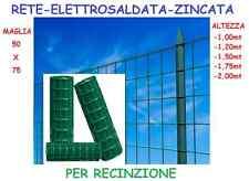 RETE ROTOLO 25MT RECINZIONE METALLICA PLASTIFICATA VERDE1,00-1,20-1,50-1,80-2,00