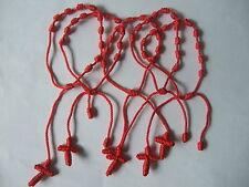 Wholesale lot 12-100pcs HandCraft Red Knotted Rosary Cross Bracelets