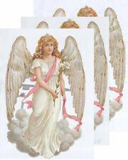 Chromo EF Découpis Ange Victorien Fleur de Lys 7086 Embossed Illustrations Angel