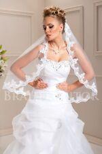 (BKS-521) Brautschleier Spitze Perlen Pailletten Schleier Hochzeit WEISS IVORY