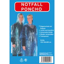 1 x Regenponcho Notfallcape Regencape Regenschutz  transparent ca. 130x200 cm