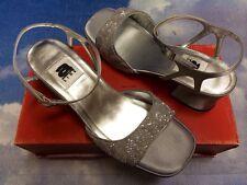 Amiana Silver Sequin Open Toe Buckle Closure Heel Dressy Sandal Women Size 6, 9
