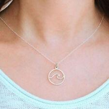 Women Charm Ocean Wave Whale Necklace Geometric Beach Waves Pendant Necklaces