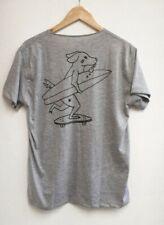 WECare grey cotton t-shirt skateboarding cartoon dog unisex men's women's
