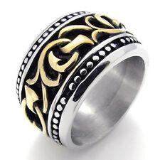 US Seller Men's Gold Silver Stainless Steel Biker Ring Size 7-13 SR61