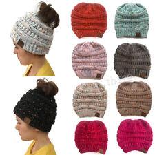 Women's Beanie Ponytail Messy Bun BeanieTail Multi Color Ribbed Winter Hat Cap
