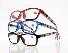 Men Women Full Frame Colorful Stripe Legs Reading Glasses +1.00 to +4.00 Readers