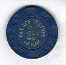 Old 25 cent Poker Chip Blue Palace Station Casino Las Vegas NV