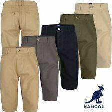Mens Kangol Casual Knee Length Long 3/4 Chino Summer Shorts Bottoms Cotton Pants
