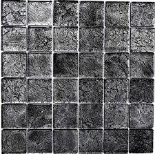 Glasmosaik Crystal schwarz metsall Fliesenspiegel WAND modern Struktur 126-8BL27