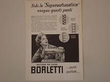 advertising Pubblicità 1959 MACCHINA PER CUCIRE BORLETTI