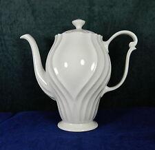"QUEEN ANN ENGLISH CHINA/PORCELAIN 8"" Tall ""Coffee Pot"" - ALL WHITE W/RIBBING"