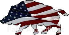 American Flag Wild Hog Vinyl Sticker Decal boar pig hunting USA patriotic