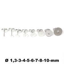 Ohrstecker Rohling flach rund + Ohrsteckerverschluss Edelstahl in 9 Größen Neu
