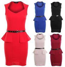 Ladies Sleeveless Gold Studded Belted Shift Peplum Short Women's Bodycon Dress