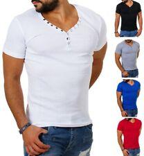 Young & Rich Herren feinripp T-Shirt mit Knopfleiste tiefer V-Ausschnitt slimfit