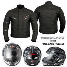 Motorcycle Motorbike Mens Jacket Waterproof Textile CE Armoured Full Face Helmet