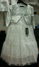 Neu Kleid Taufe Hochzeit Festkleid silber-weiß mit Bolero sehr süß Gr.92-146 Neu