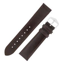 Hirsch Osiris Reloj Correa de piel de becerro plana acolchado en brillante marrón oscuro