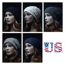 Knit Mens Womens Pattern/Plain Reversible Vintage Beanie  Unisex Hat Slouchy