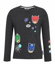 Girls Kids Official Licensed PJ Masks Black Long Sleeve T Shirt Top