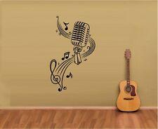 MUSIC NOTES SHEET MUSIC MICROPHONE VINYL WALL DECAL STICKER HOME ART DECOR
