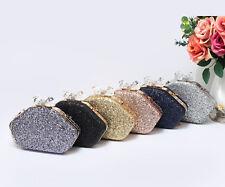 New Womens Polygon Glitter Clutch Bag Evening Hangbag Big Crystal Diamante Clasp