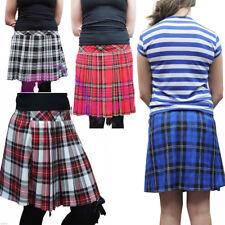"Crazy Chick Women's Pleated Back Elastic Red Blue Black Tartan Skirt (16"" Long)"