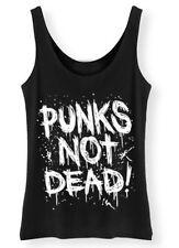 Punks Not Dead Tank Top Womens SCREENPRINTED Punk Top vest Retro Grunge ladies