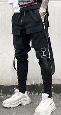 Mens Buckle Strap Street Cargo Baggy Jogger Jersey Sweat Trousers Elastic Waist